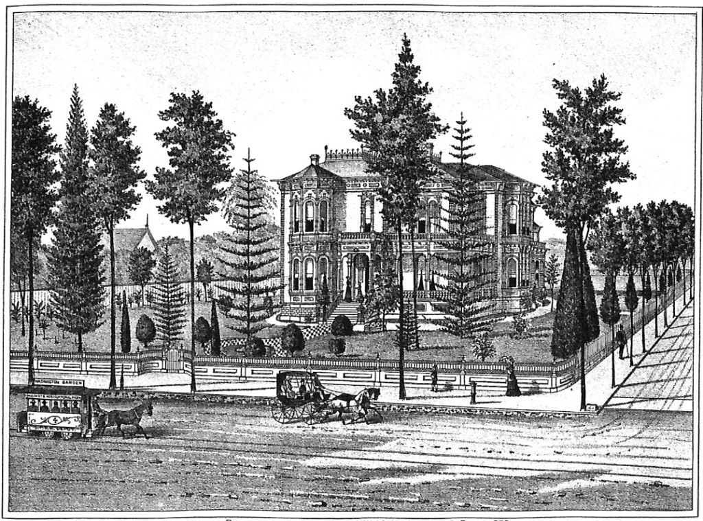 Residence of Isaias W. Hellman, Main & 4th Sts., Los Angeles, 1880's Litho