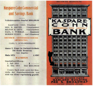Advertisement for Kaspare Cohn Bank, Los Angeles, German Magazine