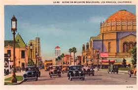 Wilshire Blvd with the new Wilshire Boulevard Temple on right, late 1920's, WSP#2134