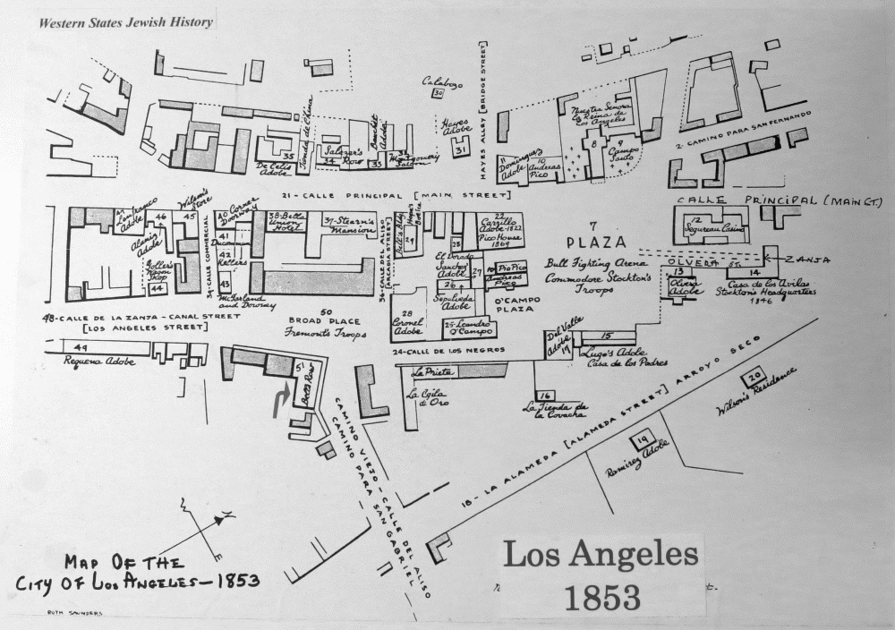 Map Of Los Angeles 1853 Showing Bell S Row Jmaw