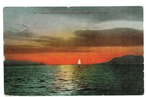 Golden Gate at Sunset in 1860's Postcard