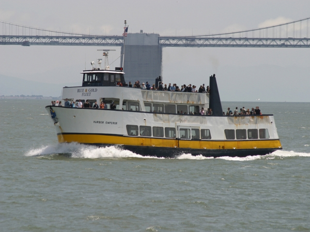 "Emporor Norton attached to the Bow of the ""Harbor Emporer"" Tourist Boat in San Francisco Harbor - today."