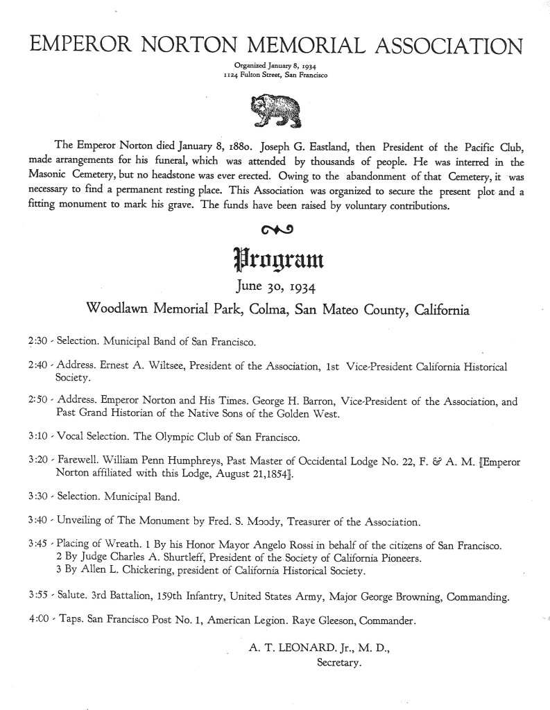 Actual Program for the re-burying of Joshua Norton. WS Archives