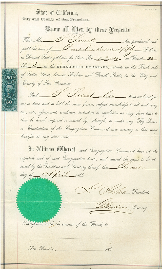 Temple EmauEl Seat Deed, 1866 WS Archives