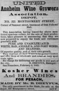 Adv for Anaheim Wine Growers, 1863 WS 17/2402