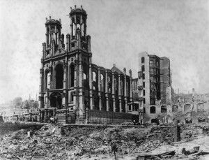 Temple Emanu-El after the 1906 Earthquake-Fire. WS 22/3193