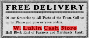 1909 Adv. for Lukins Store