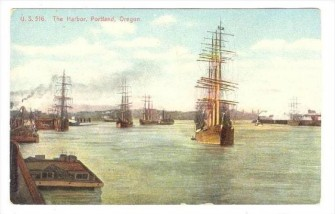 Portland Harbor Mercantile Ships at the Turn of the Century, Postcard