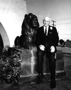 Eugene Stern with E.J. The Lion in front of City Hall, Las Cruces, New Mexico. #WS0450