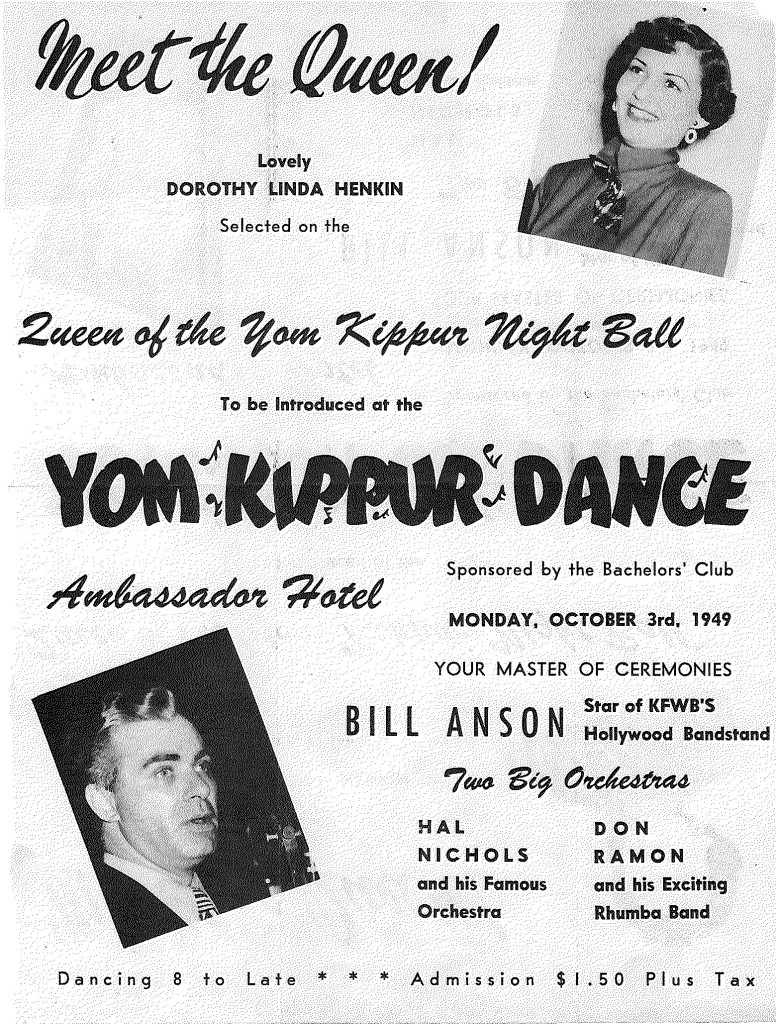 Bachelor's Club Yom Kipper Dance LA 1949, WSJH Archives