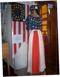 Red, White & Blue Dress for Centennial, 1876 in Jewish History Museum.