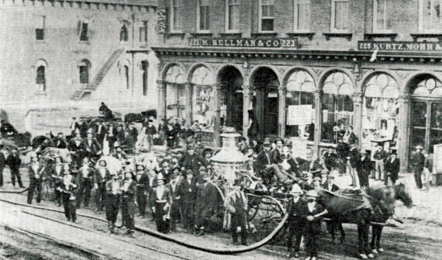 M. Hellman & Co. in Downtown Omaha with New City Fire Engine in Front. Circa 1875