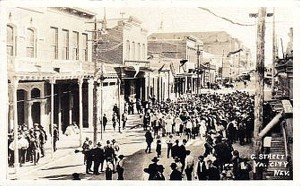 C Street in Virgina City during its hayday, postcard.