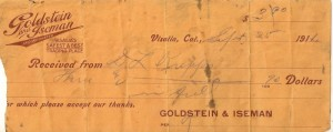Check issued by Goldstein's Store, 1911.