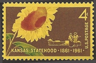 Kansas Statehood Stamp, 1861 - 1961