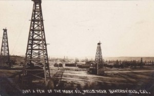 Oil Wells in Bakersfield at the Turn of the 20th Century, Vintage Postcard