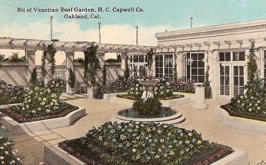 Capwell's Famous Rooftop Garden, Vintage Postcard