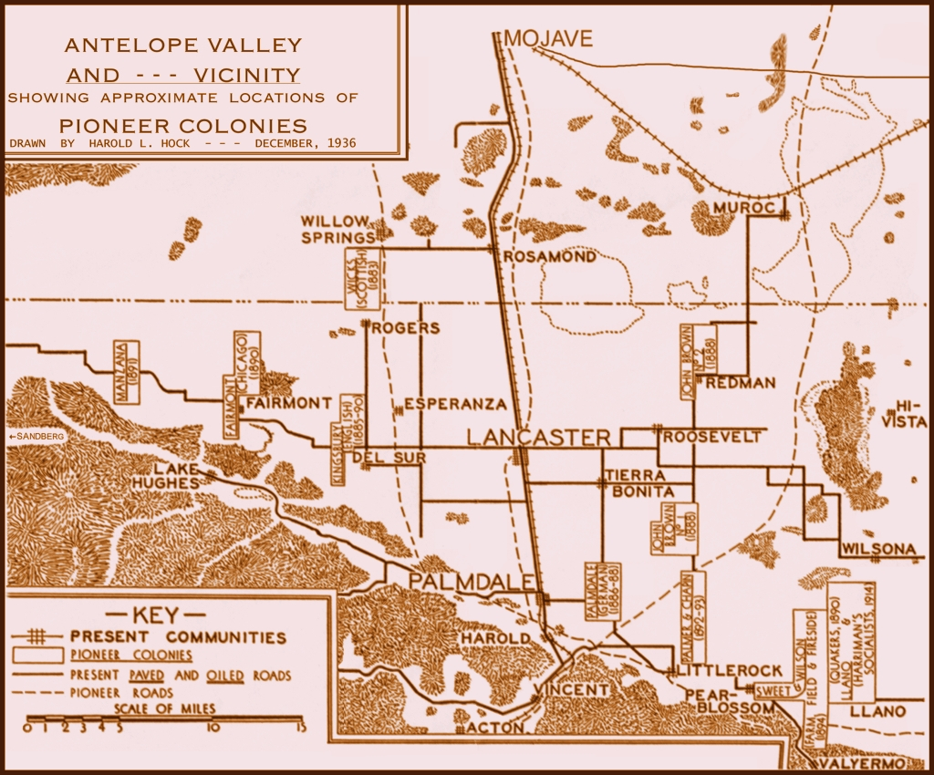 Antelope Valley Map of Pioneer Colonies