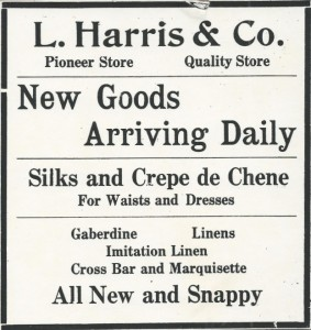 A Leo Harris & Co. advertisement from the Antelope Valley-Ledger Gazette (1916).