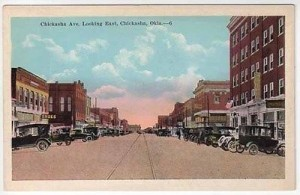 Chickasha Main Street, 1920's, Vintage Post Card