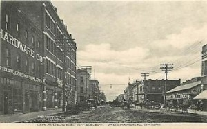 Musgogee Business District, Vintage Postcard