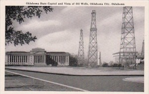 Oklahoma Capital in Oklahoma City with Oil Wells on Lawn, Vintage Postcard
