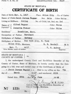 Jacob Jerome Wagner's Birth Certificate