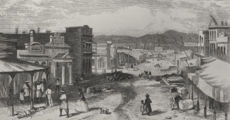 Kady Gambitz' Store 1858 Victoria, on the left between the first store and the pillars of the Bank which is the third building.