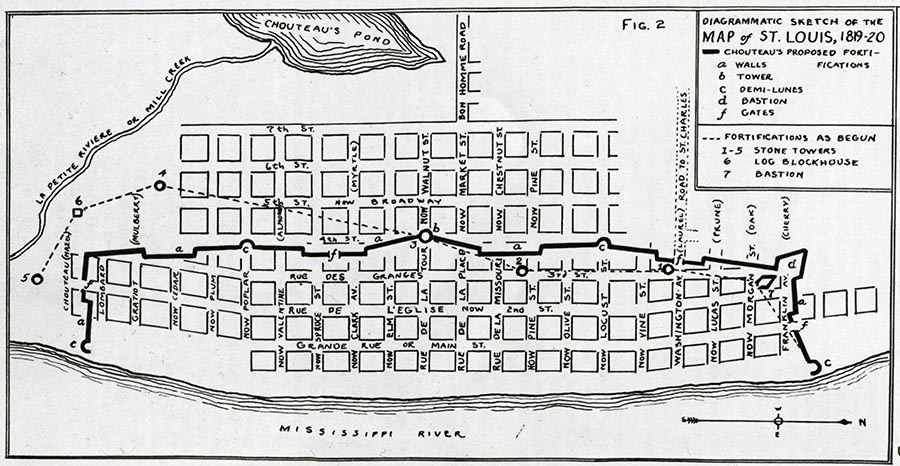 Map of St. Louis, 1819/20, during the residency of Eliezer Block