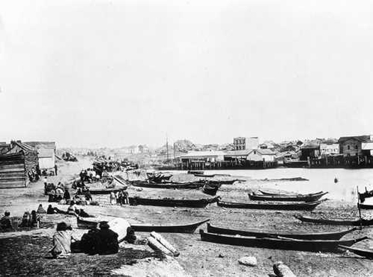 Songhees Village across the harbor from the Copperman Trading Post, Victoria, (BMABC)