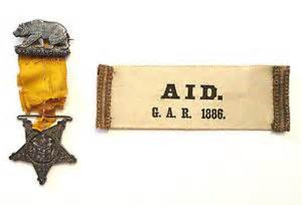GAR Arm Band and Medal SF 1886