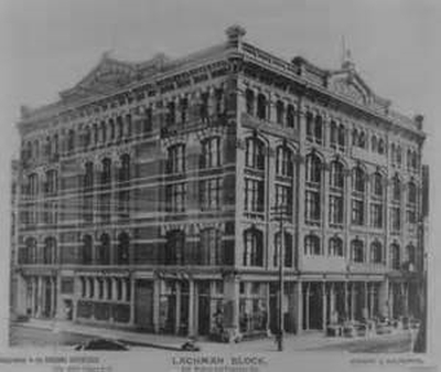 The Lachman Building in San Francisco before it destroyed in the 1906 Earthquake/Fire