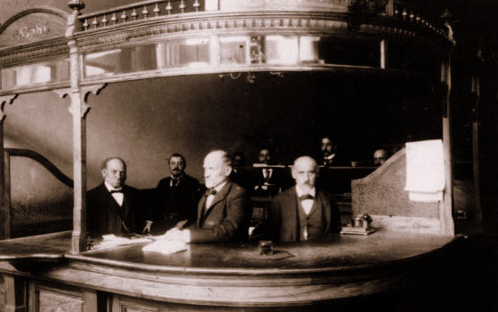 Daniel Meyer and brothers at the Daniel Meyer Bank, San Francisco, 1890s, #WS1872