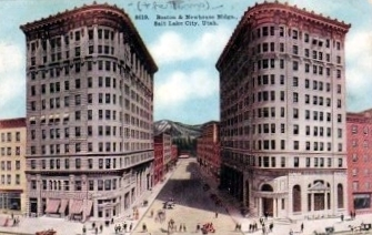 The Boston and Newhouse Buildings, Salt Lake City, vintage postcard
