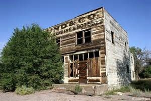 Abandoned building in Newhouse, Utah, now a ghost town