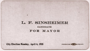Louis Sinsheimer Election Handout Card, 1925, WSJH Collection.