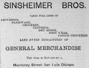 Sinsheimer Bros. Adv. in The Daily Republic, San Luis Obispo, 1889